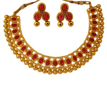 Small U Shape Gold Color Necklace with Oval Shape Ruby Stones with Matching Earring Set