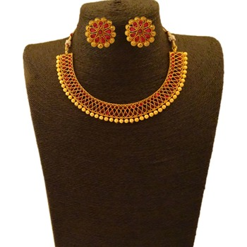Small U Shape Gold Color Necklace with Pear and Oval Ruby Stones with Matching Earring Set