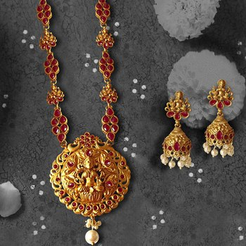 Temple Laxmi Ji Ruby Studded Long Necklace with Matching Earrings