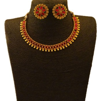Small U Shape Gold Color Necklace with Oval Ruby Stones with Matching Earring Set