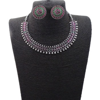Small U Shape Silver Color Necklace with Leaf Ruby Green with Matching Earring Set