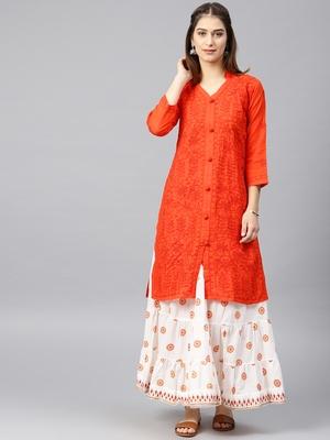 Dark-orange hand woven cotton chikankari-kurtis