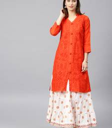 Dark-orange hand woven cotton chikankari-kurtis