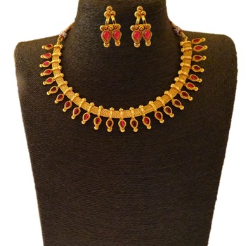 Small U Shape Gold Color Necklace with Pear Shape Ruby Stones with Matching Earring Set
