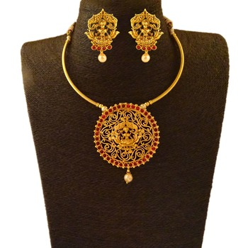 Kemp Designer Temple Laxmi Ji Golden Polished Round Shape Golden Ruby Pendant Necklace Set with Matching Earrings