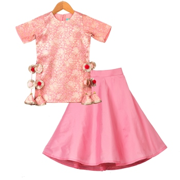 Pink Pink Brocade Kurti with Taffeta Lehenga