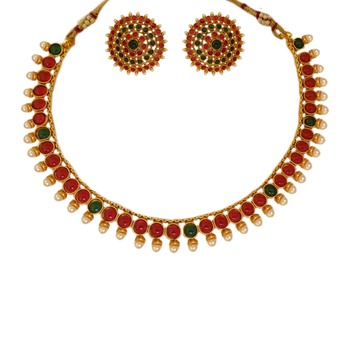 Small U Shape Gold Color Necklace with Round Shape Ruby Green Stones with Matching Earring Set