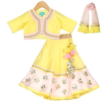 Yellow & Pink Chanderi Silk Lehenga & Choli