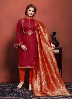 maroon embroidered cotton unstitched salwar with dupatta