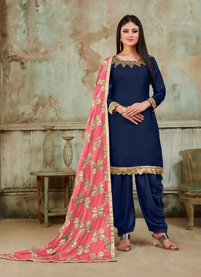blue embroidered satin semi stitched salwar with dupatta