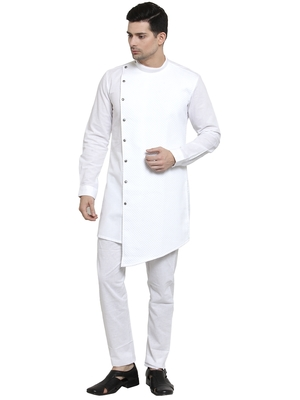 White plain cotton kurta-pajama