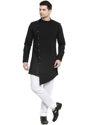 Black plain cotton kurta-pajama