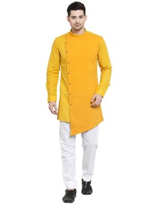Gold plain cotton kurta-pajama