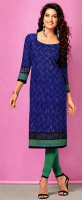 Blue Rayon Long Kurtis