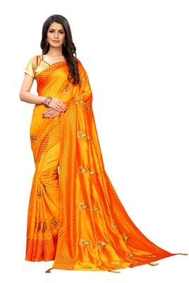 Yellow embroidered poly silk saree with blouse