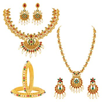 Traditional Peacock Design Gold Plated Set of 2 Necklace Set & Set Of 2 Bangle Combo For Women