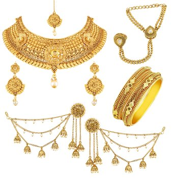 Traditional Gold Plated Choker Neckalace Sets With Mangtikka Hathphool Bangle & Earring Combo For Women
