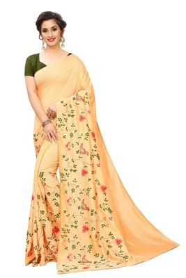 Light Orange Embriodered art silk Saree With Blouse Piece.