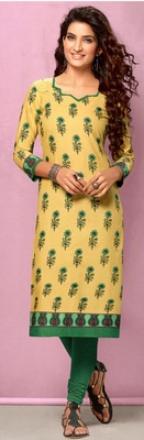 Cream Rayon Long Kurtis