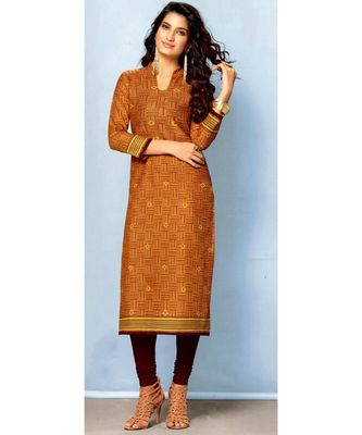 Brown Rayon Long Kurtis