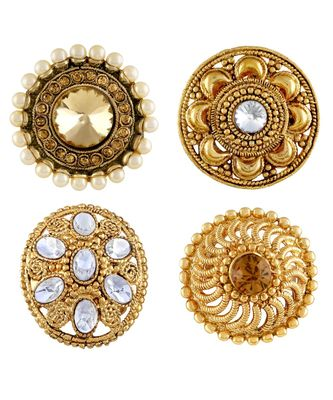 Traditional Party Wear Gold Plated Set Of 4 Finger Ring Combo For Women