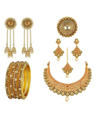 Traditional Wedding Wear Gold Plated 1 Pair of Earring 1 Ring 4 Bangle & 1 Necklace Set Combo For Women