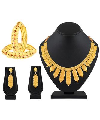 Stylish Traditional Gold Plated 2 Bangle & 1 Necklace Set Combo For Women