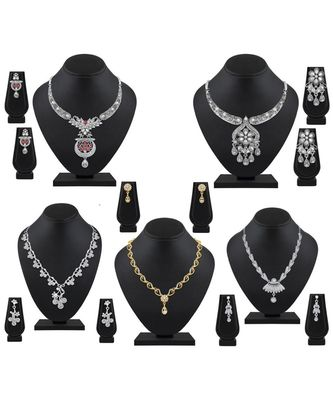 Designer Gold and Silver Plated Multy Stone 5 Necklace Set Combo For Women