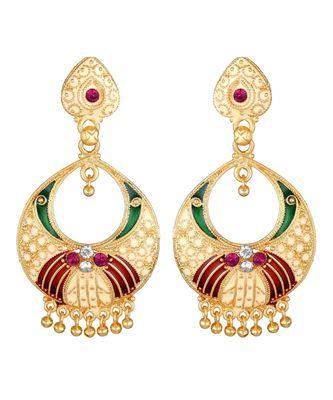 Traditional Gold Plated Chandbali Dangle Earrings for women