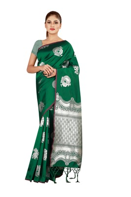 Multicolor woven cotton silk saree with blouse