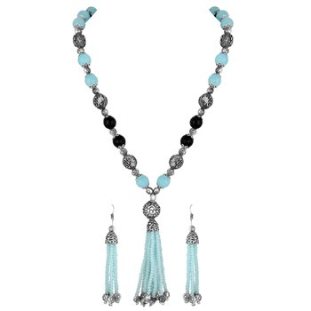 Stylish Silver plated Matinee style Necklace set for women
