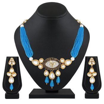 Fancy Choker Style Gold Plated Sky Blue Colour Beads Necklace Set For Women