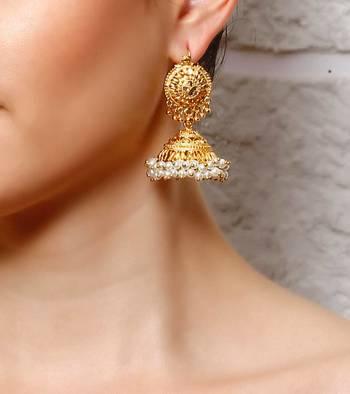 Traditional gold kashmiri jhumka - LARGE
