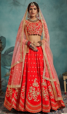 Red Sequins embroidered art silk unstitched lehenga choli with dupatta