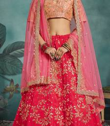 ARRESTING Pink Sequins Embroidered Art Silk Semi Stitched lehenga with double dupatta