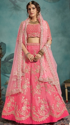 Pink Sequins embroidered art silk unstitched lehenga choli with dupatta