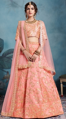 SPARKLING Peach Sequins Embroidered Art Silk Semi Stitched lehenga with double dupatta