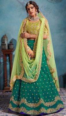 STUNNING Green Sequins Embroidered Art Silk Semi stitched lehenga with double dupatta