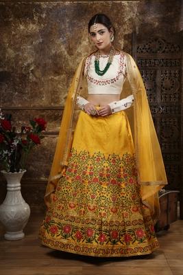 Mustard Thread embroidered silk unstitched lehenga choli with dupatta