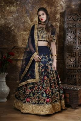 Navy-blue Thread embroidered silk unstitched lehenga choli with dupatta
