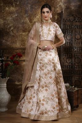 Peach Thread embroidered silk unstitched lehenga choli with dupatta
