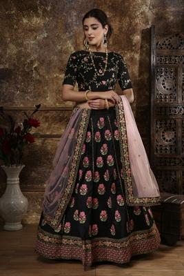 Black Thread embroidered silk unstitched lehenga choli with dupatta