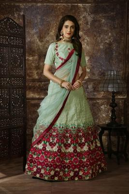 Light-green Thread embroidered silk unstitched lehenga choli with dupatta