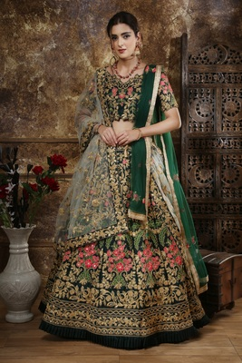 Green Thread embroidered satin unstitched lehenga choli with dupatta