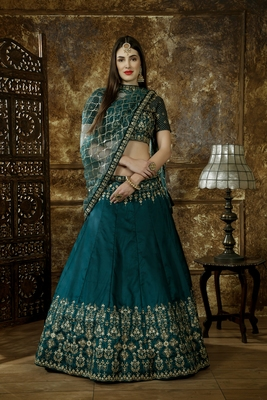 Green Sequins embroidered satin unstitched lehenga choli with dupatta