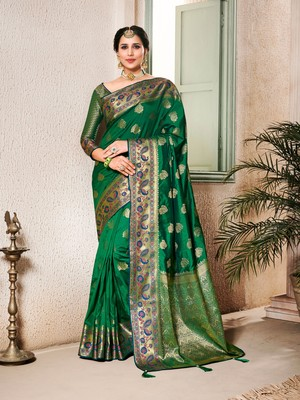 Dark green woven silk saree with blouse