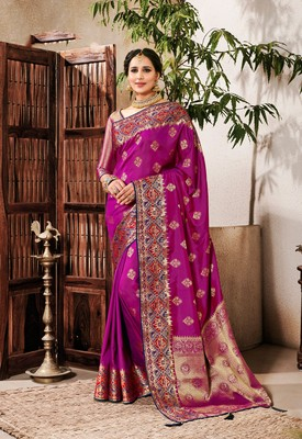 Magenta woven silk saree with blouse