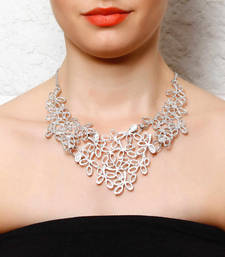 Buy Silver Stencil Leaves Collar Necklace Necklace online