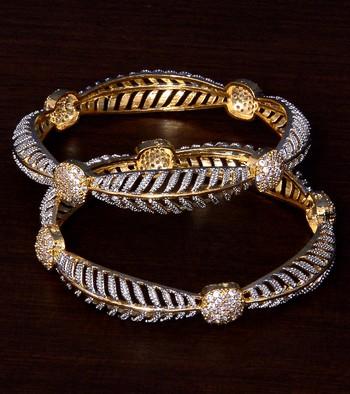 Gold Plated CZ Stone Embellished Designer Bangles BD397