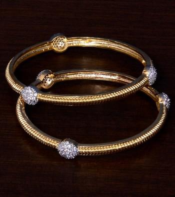 Gold Plated CZ Stone Embellished Designer Bangles BD398